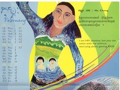 Calendar art produced in Cambodia delivers a message about living with HIV/AIDS. Living With Hiv, Gender Issues, Hiv Aids, Cambodia, Calendar, Disney Characters, Women, Art, Art Background