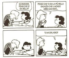 Do you think I'm beautiful? Peanuts Cartoon, Peanuts Snoopy, Funny Cartoons, Funny Comics, Lucy Van Pelt, Snoopy Comics, Snoopy Quotes, Snoopy Love, Charlie Brown And Snoopy