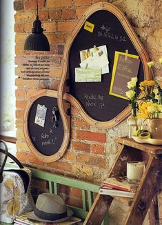 Old train tracks that were made into a blackboard hung on a . Old train tracks, which were made into a board, hung on a brick wall …, - Ikea Bed Hack, Ikea Furniture Hacks, Diy Furniture Couch, Furniture Makeover, Ikea Hacks, Empire Ottoman, Play Corner, Diy Crayons, Glue Gun Crafts