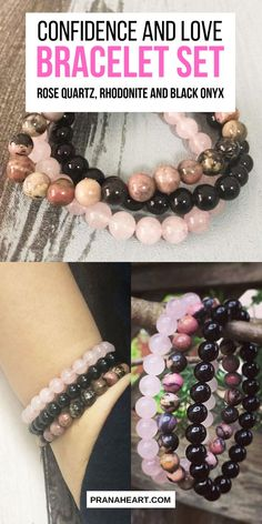 Rose Quartz, Rhodonite and Black Onyx - Confidence and Love Bracelet Set Gemstone Bracelets, Love Bracelets, Bracelet Set, Gemstone Jewelry, Beaded Jewelry, Handmade Jewelry, Jewelry Bracelets, Jewelry Watches, Crystal Healing Stones