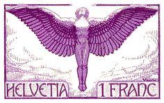 swiss,switzerland,icarus,mythology,mythological,postage,stamp,ephemera,winged,mail,deco,noveau,allegory,flying,daedalus,flight,switzerland stamp