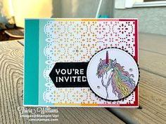 Kids Birthday Cards, Youre Invited, Creative Cards, Stampin Up Cards, Cardmaking, Paper Crafts, Invitations, Sparkle, Projects