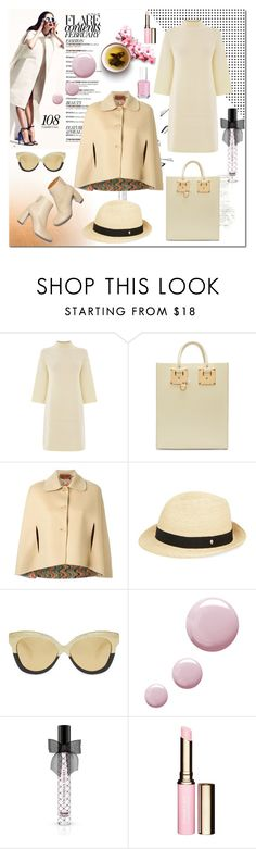 """""""Missoni Classic Buttoned Cape"""" by ilona-828 ❤ liked on Polyvore featuring Warehouse, Sophie Hulme, Missoni, STELLA McCARTNEY, Helen Kaminski, Linda Farrow, Topshop, Victoria's Secret, Clarins and Essie"""
