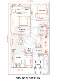 house designs exterior home 5 Marla House Plan, 2bhk House Plan, House Plans Mansion, Model House Plan, Simple House Plans, House Layout Plans, Family House Plans, House Layouts, 40x60 House Plans
