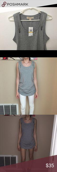 Michael kors shirt NWT// Michael kors gray shirt // I'm a size xsmall- small and only 5'2 so it fits me like a dress // MICHAEL Michael Kors Tops Tees - Short Sleeve