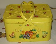 Vintage Nesco USA 50's Yellow Retro Metal Tin Picnic Basket w Handles
