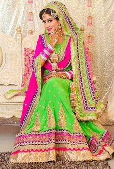 Electric Green Hot Pink Perfect Color Combo Lehengas Pinterest Combos And
