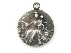 French Vintage Our Lady of Mount Carmel - Sacred Heart of Jesus Silver Catholic Medal - P48 by LuxMeaChristus on Etsy