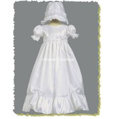 Farrah Christening Gown $39.99  LTFARRAH  Taffeta Christening gown with lace accents.  Bonnet is included.  Made in USA