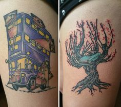 Thigh Pieces, Knight Bus with Marauder's Map Shards and Whomping Willow  Done by Rob @ Death or Glory, Gainesville, FL Harry Potter Tattoo - Knight Bus - Marauder's Map - Whomping Willow - Harry Potter