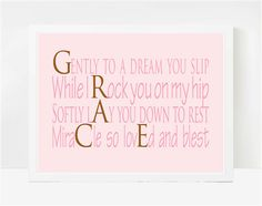 Baby shower gift for a little girl named grace my pinterest personalized toddler gifts baby shower gifts baby name poems grace negle Gallery