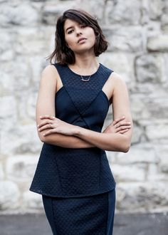 The New Colour Code: Navy and White Stylish Outfits, Fashion Outfits, Womens Fashion, Navy Skirt, Event Dresses, Navy And White, New Dress, Favorite Color, Peplum Dress