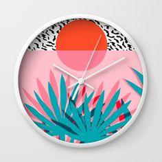 Whoa - palm sunrise southwest california palm beach sun city los angeles retro palm springs resort  Wall Clock