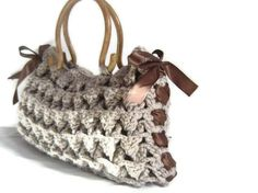 Crocheted brown bagGifts for mommom Crocheted purse brown by hibbe, $75.00