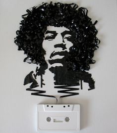 jimi hendrix drawn with the cassette tape