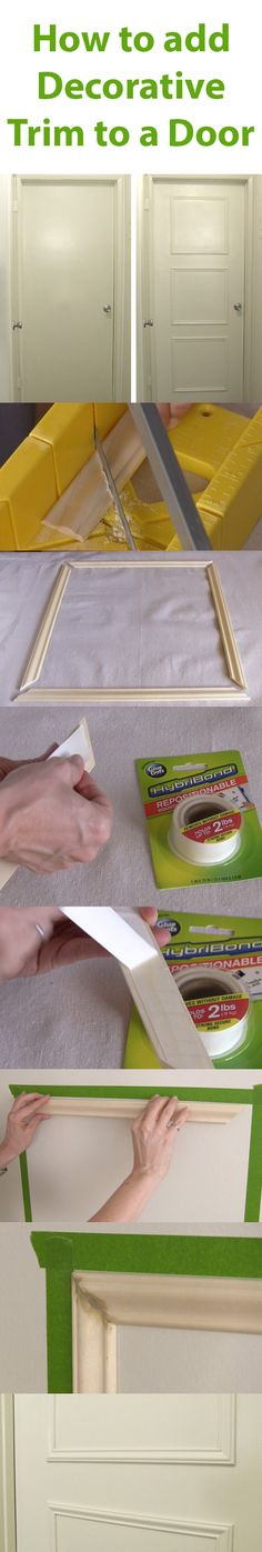 Boring, flat, hollow doors can be an eyesore in your home. Learn how to upgrade them yourself by adding a decorative trim using new HybriBond Mounting Tape, Powered by GlueDots - Diy Interior Design Home Renovation, Home Remodeling, Door Trims, Decorative Trim, Home Upgrades, Home Repairs, Diy Home Improvement, Home Projects, Diy Furniture