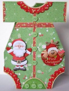 Christmas Romper Suit Shaped Card Mini Kit in Card Gallery Baby's First Christmas Card, Babies First Christmas, Christmas Baby, Handmade Christmas, Romper Suit, Handmade Baby, Baby Cards, Hobbies And Crafts, Babys