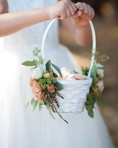 12 Flower Baskets Your Flower Girl Will Love ~ Simple white basket to carry flower petals adorned on each side with spray roses and seeded eucalyptus: Flourish; Flower Girl Bouquet, Flower Girl Gifts, Flower Girl Basket, Flower Petals, Diy Flowers, Flower Baskets, Flower Girl Dress, Flower Girl Crown, Church Wedding Flowers