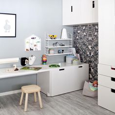 Create a custom kids room with toy storage at child height so its easier for them to play and pack things away. At first we had all the STUVA storage up high says Sofie. But once we put some of it down at Los height he started playing more. It really makes it his room. Find inspiration from their monochrome home at IKEA.com (link in profile) #IKEAIDEAS In the picture: STUVA bench FLISAT childrens stool Photography: Lina Ikse - follow this board for great toy storage ideas.