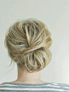 low messy bun hairstyle