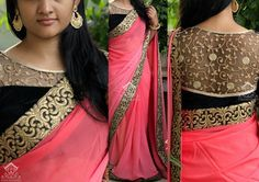 peach saree with golden black border and embelished blouse by varuni gopen