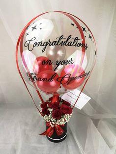 Balloon Box, Balloon Gift, Balloon Bouquet, Air Balloon, Diy Birthday Decorations, Birthday Diy, Balloon Decorations, Flower Box Gift, Flower Boxes
