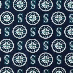Seattle Mariners Major League Baseball mlb teams blue white compass cotton fabric by the yard b