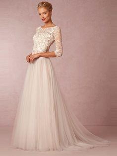 A-linje/Prinsessa Rund Tyll 3/4-dels Ärm Applikationer Court Train Bröllopsklänningar