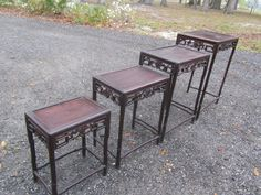 Asian Nesting Table, Rosewood Tables, Oriental Side Table, Vintage Stacking  Tables, Side