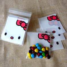 100pcs Small OPP Plastic Hello Kitty Self-adhesive Party Food Packing Bags  Cellophane Bags 053dc64d2650c