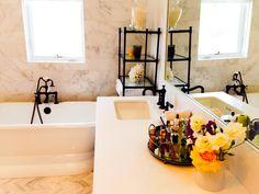 White master bathroom calacatta marble, oil rubbed bronze hardware
