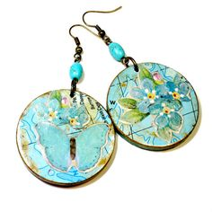 Chic Shabby Earrings in Turquoise Blue, Mixed Media Jewelry