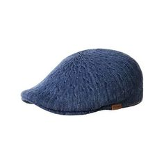 Kangol Denim 507 Flat Cap - Indigo Wash ($45) ❤ liked on Polyvore featuring accessories, hats, striped hat, kangol hats, flat cap hat, flat cap and driver caps hats