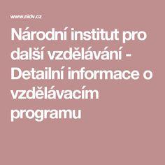 Národní institut pro další vzdělávání - Detailní informace o vzdělávacím programu