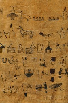 """""""Lakota Painted Hide Winter Count, c. late 19th/early 20th century, painted on horse hide and depicting events c. 1800-75, probably a later copy of the Long Dog winter count, drawn in black and red/brown pigments, each character representing an important event during a given year, (tears in the hide), 51 x 27 in."""" ВИД В."""