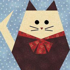 Fat Cat Paper Pieced Quilt Block.