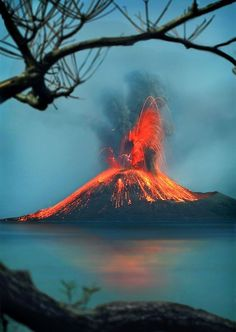 Krakatoa volcano Eruption, Indonesia.