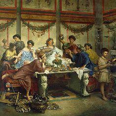 Roberto Bompiani  A Roman Feast (detail)  Late 19th century