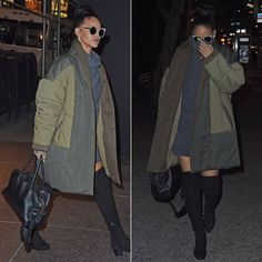 Rihanna @ New York City last night. She rocked their Hazel dress in Newton, which is a long sleeved, turtleneck mini dress in a dark grey colour. You can keep it traditional by folding the turtleneck or wear it up for a more unconventional look. This colour is currently sold out online but the Hazel comes in a variety of colours including a lighter grey called #Giza.  Follow #RD =====>>> https://twitter.com/rihannadresses  #RihannaDress #turtleneckminidress #Hazeldress