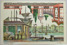 c1930 Alfred Jacobsens Nr. 395. Paper theater sheet - it's the upside down image that's so fun with the cards and dice and chess board floor.  http://skd-online-collection.skd.museum/en/contents/showSearch?id=244535#
