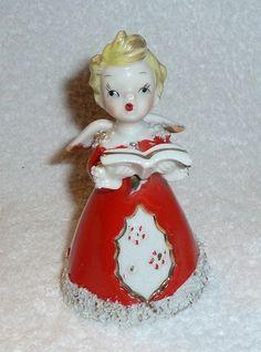 Vintage Christmas Red Angel Choir Singer Bell with Blonde Hair