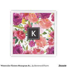 Watercolor Flowers Monogram Acrylic Vanity Tray - acrylic, vanity, chic, trendy, modern, interior decor, monogram, watercolor flowers, floral, watercolor, personalized gift, pattern, black, simple, fashion, design, home, monogram gifts