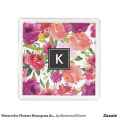 Watercolor Flowers Monogram Acrylic Vanity Tray - acrylic, vanity, chic, trendy, modern, interior decor, monogram, watercolor flowers, floral, watercolor, personalized gift, pattern, black, simple, fashion, design, home, monogram gifts
