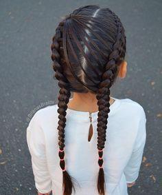 Dutch braids with one feathered strand for trampoline zone. Have a great weekend . . . . #braidsforlittlegirls #hairstyles_for_girls #hairstyles #hairideas #instahair #instabraid #inspirationalbraids #hotbraidsmara #sweetheartshair #cghphotofeature #tangledandtrue #beyondtheponytail #longhairdontcare #americansalon #modernsalon #tophairfeatures #featuremebraids #braidsbyu #braidstyles #braidinglife #косы #косыдлядевочек #прическидлядевочек #brianasbraids