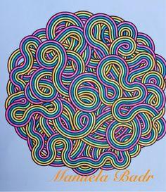 Uit Denksport Tijd voor kleur nr 5 | Gekleurd met Stabilo neon stiften | 09-08-2015