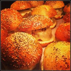 burgers in seeded buns by bartlett mitchell