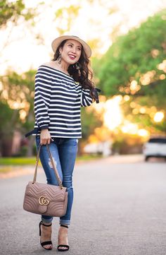 cute & little   dallas petite fashion blog   j.crew striped off-the-shoulder top, panama hat, ag distressed legging ankle jeans, steve madden black carrson, gucci marmont matelasse   spring outfit
