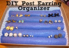 DIY Post Earring Organizer, I would probably recover them to make it look nicer
