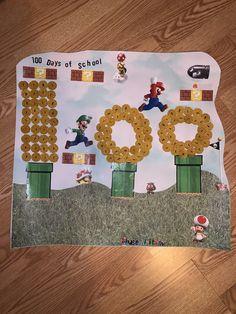 Super Mario 100 days of school 100 Days Of School Project Kindergartens, 100 Day Of School Project, School Projects, World Family Day, 100th Day, Super Mario, Elementary Schools, Project Ideas, Gun