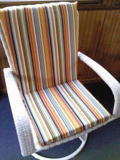 I scored two deck chairs at the local consignment shop & made new cushions to match.  This makes me SMILE!!!  :)